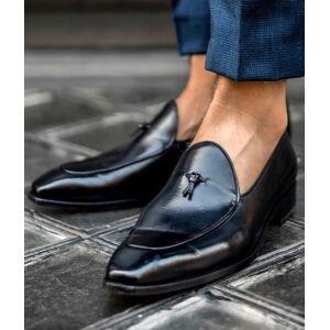 Rangoli Collection Handmade Men Black Leather Dress Shoes Moccasins, Men Black Leather Shoes US 11.5
