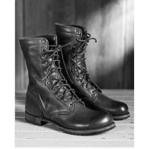 Rangoli Collection Handmade Men Black Combat boots, Men Military style leather boots, Men army boot US 11