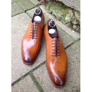 Rangoli Collection Handmade Men Tan Oxford brogue formal dress shoes, Men Tan leather shoes US 11.5