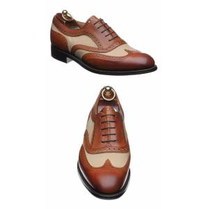 Rangoli Collection Handmade Men Formal Two Tone Wing Tip Shoes Men Brown and Beige Dress Shoes US 11