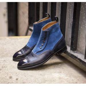 Bishoo Handmade Two Tone Leather Boots for Men, Black Leather and Blue Suede Boots for Men, Boots for Men US 11.5