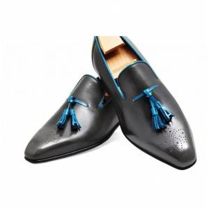 Bishoo New Handmade Men Black Leather Brogue Tassels Dress Shoes, Real Leather Office Shoes US 11.5