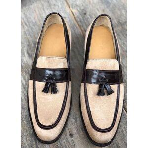 Bishoo Handmade Men Black Beige Cap Toe Slip On Tassel Suede Leather Dress Shoes US 11.5
