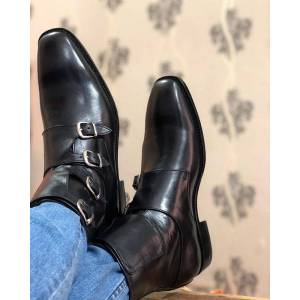 LeathersPlanet Handmade Mens Quad Monk Black Leather Ankle High Boots US-Size: 11.5