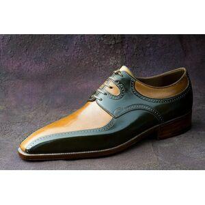 Rangoli Collection Handmade Mens Shoes, Men two tone Shoes, Men Tan and black dress Shoes, Men business Shoes US 11