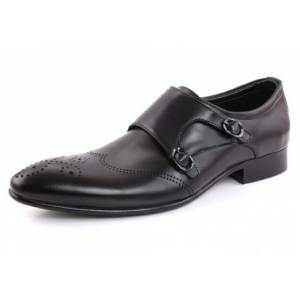 Robleatherseller Customize Handmade Black Color Brogue Toe Double Strap Real Leather Monk Shoes US 11