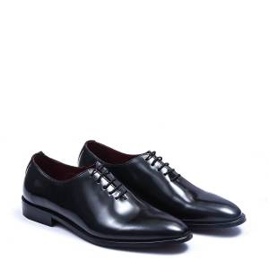 Robleatherseller Luxury Whole Cut Balmoral Black Color Genuine Leather Men Business Shoes US 11.5