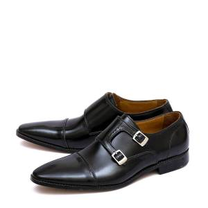 Robleatherseller Adorable Made To Order Black Dual Monk Strap Real Leather Men Pointed Toe Shoes US 11