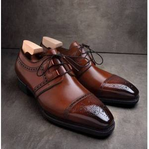 LeathersPlanet Handmade Tan french calf and black patina Formal shoes for men US-Size: 11.5