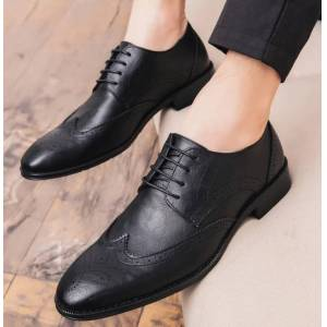 Robleatherseller Customize Black Blucher Medallion Wingtip Pure Leather Lace Up Men Formal Shoes US 11