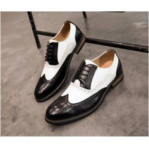 Robleatherseller Saddle Black White Two Tone Lace Up Premium Leather Oxford Brogue Wingtip Shoes US 11