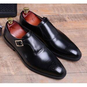 Robleatherseller Elegant Monk Strap Medallion Toe Handmade Black Real Leather Men Formal Shoes US 11