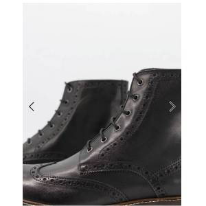 Bishoo Men Black Leather Ankle Boots with lace up closure, military boots for men US 11.5