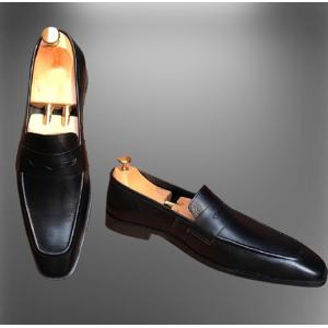 Rangoli Collection Men black leather Formal Shoes, Men black leather moccasins slip ons, Men Shoes US 11.5