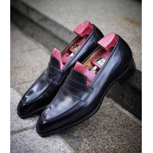 LeathersPlanet New Handmade Classic Gaziano Girling Monaco In Black Calf Shoes for men US-Size: 11