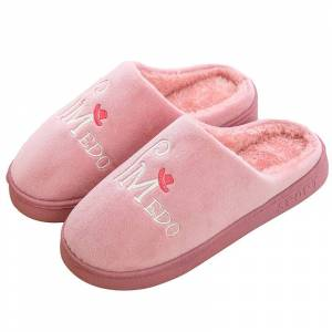Novel Life Cotton Women Men Bedroom Slippers Warm Thick Soled  Red Size 38-39