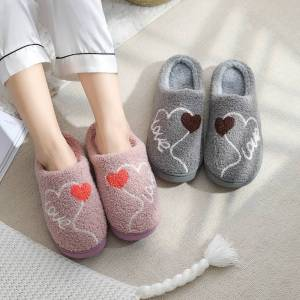Novel Life Love Heart Cotton Lined House Slippers Thick Soled Warm Couple Slippers Women Men Navy Size 44-45