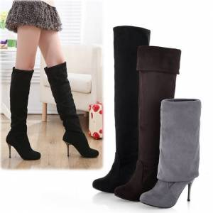 Shoes Party Women's Elegant Suede Over the Knee Thigh Stretchy High Heels Boot Shoes Brown&EU 37