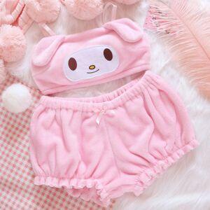 Dream castle New Sweet Cute Big Ears Strap Plush Tube Top + Pumpkin Pants Set