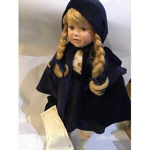 "Tennessee Junk Trunk Brinn's Collectible Porcelain Doll 21"" Blue velvet Cape & Hood"