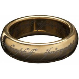Weta Workshop Lord of the Rings The One Ring (with runes) - Gold Plated Tungsten,Size 6