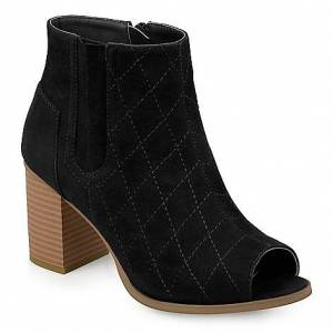 "Journee Collection ""Henley"" Quilted Open Toe Side Zip Ankle Boots"