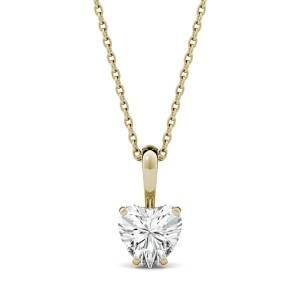Charles & Colvard Solitaire Pendant Necklace in 14K Yellow Gold, 1.0CTW Heart Forever One - Near-Colorless Moissanite Charles & Colvard  - Yellow Gold - Size: One Size