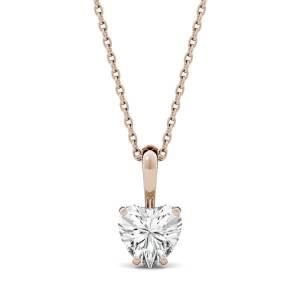 Charles & Colvard Solitaire Pendant Necklace in 14K Rose Gold, 1.0CTW Heart Forever One - Near-Colorless Moissanite Charles & Colvard  - Rose Gold - Size: One Size