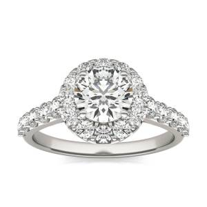 Charles & Colvard Shared Prong Halo Engagement Ring in 18K White Gold, Size: 7.5, 2 1/15 CTW Round Caydia Lab Grown Diamond - VS1 Charles & Colvard  - White Gold - Size: 7.5