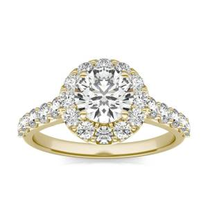 Charles & Colvard Shared Prong Halo Engagement Ring in 18K Yellow Gold, Size: 7.5, 2 1/15 CTW Round Caydia Lab Grown Diamond - VS1 Charles & Colvard  - Yellow Gold - Size: 7.5