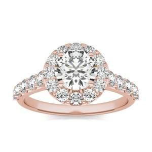 Charles & Colvard Shared Prong Halo Engagement Ring in 18K Rose Gold, 2 1/15 CTW Round Caydia Lab Grown Diamond - VS1 Charles & Colvard  - Rose Gold - Size: 8