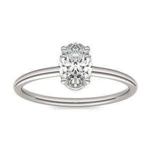 Charles & Colvard Hidden Halo Solitaire Engagement Ring in 18K White Gold, Size: 6, 1 1/15 CTW Oval Caydia Lab Grown Diamond - VS1 Charles & Colvard  - White Gold - Size: 6