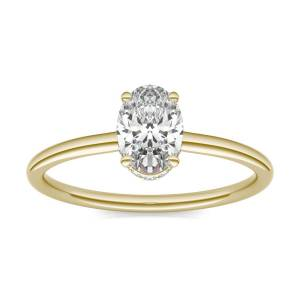 Charles & Colvard Hidden Halo Solitaire Engagement Ring in 18K Yellow Gold, Size: 6, 1 1/15 CTW Oval Caydia Lab Grown Diamond - VS1 Charles & Colvard  - Yellow Gold - Size: 6
