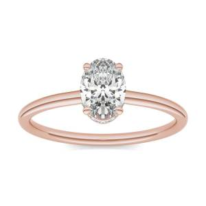 Charles & Colvard Hidden Halo Solitaire Engagement Ring in 18K Rose Gold, Size: 6.5, 1 1/15 CTW Oval Caydia Lab Grown Diamond - VS1 Charles & Colvard  - Rose Gold - Size: 6.5