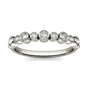 Charles & Colvard Bezel Set Stackable Band Ring in 14K White Gold, Size: 5, 0.32CTW Round Forever One Moissanite Accent Stones Charles & Colvard  - White Gold - Size: 5