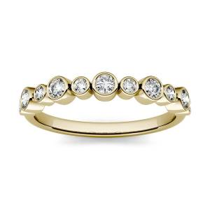 Charles & Colvard Bezel Set Stackable Band Ring in 14K Yellow Gold, Size: 5, 0.32CTW Round Forever One Moissanite Accent Stones Charles & Colvard  - Yellow Gold - Size: 5