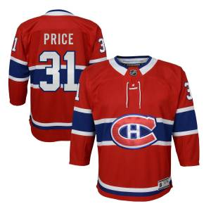 NHL Team Apparel Carey Price Montreal Canadiens NHL Premier Youth Replica Hockey Jersey by NHL Team Apparel - Red - Polyester - Size Small/M - IceJerseys