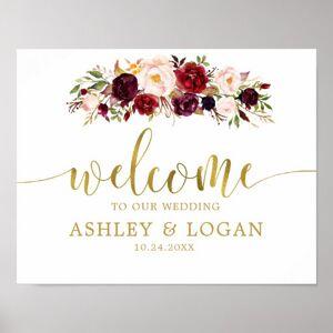 Zazzle Gold Marsala Boho Autumn Wedding Welcome Poster