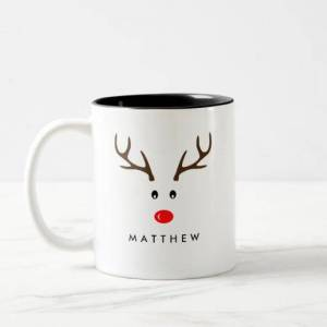 Zazzle Personalized Name Reindeer Xmas Holiday Two-tone Coffee Mug