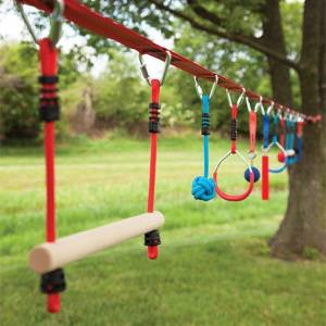 B4 Adventure Slackers NinjaLine 36 Ft. Pro & Intro Combo Kit with 10 Obstacles - Active Play for Ages 5 to 10 - Fat Brain Toys