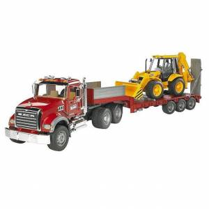 Bruder MACK Flatbed Truck with Backhoe - Imaginative Play for Ages 3 to 5 - Fat Brain Toys