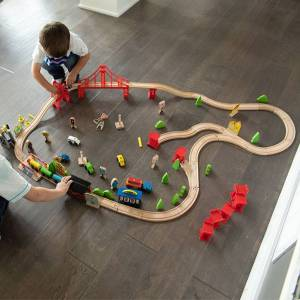 Fat Brain Toys Wooden Express 100 Piece Train Set - Imaginative Play for Ages 3 to 4 - Fat Brain Toys