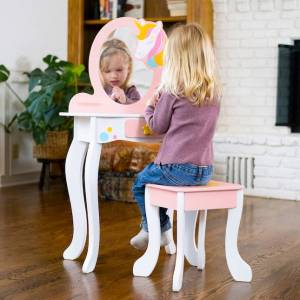 Fat Brain Toys Unicorn Magic Vanity with Mirror and Stool - Playroom and Bedroom Furnishings for Ages 3 to 5 - Fat Brain Toys