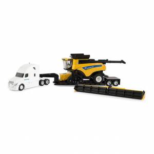 Tomy 1/64 New Holland CR9.90 Combine with Semi and Lowboy Trailer -  - Fat Brain Toys