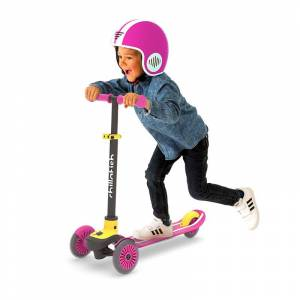 Chillafish Scotti 3-Wheel Lean-To-Steer Scooter - Pink - Active Play for Ages 3 to 8 - Fat Brain Toys