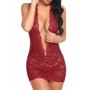 Rosegal Halter Open Back Plunge Lace Babydoll