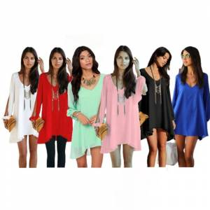 Generic Chiffon Tunic with Slit Sleeves