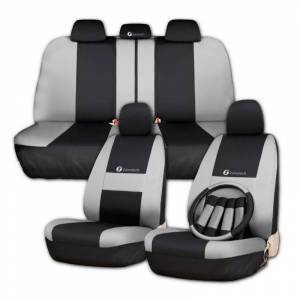 ZONETECH Zone Tech Full Set of Gray and Black Car Interior Covers
