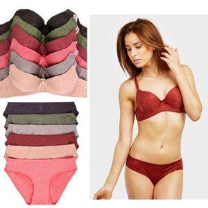 Mechaly Jacquard Full Cup Bra and Bikini Panty Set - 6 Pack