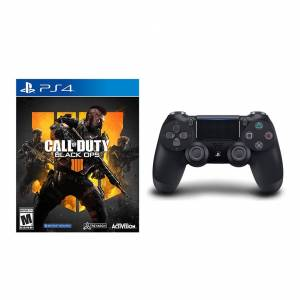 Sony Playstation 4 DualShock 4 Wireless Controller Black + Call of Duty Black Ops 4 PS4 Bundle